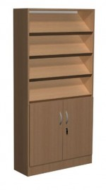Regał biblioteczny skośne półki , schowki , szafka - F