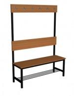 Ławka korytarzowa Premium 1-str. z oparciem i wieszakiem długosc 1,2 m z półką
