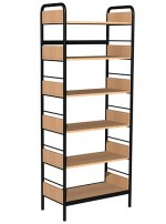 Regał biblioteczny A jednostronny z bokami z płyty, rama metalowa