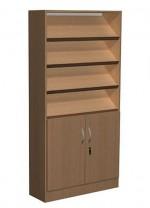 Regał biblioteczny skośne półki i szafka - B